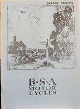 1926 BSA Motor Cycle Sales Catalog (EXPORT EDITION) Fully Illustra. All Mdls.FSH