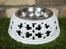 STYLISH WHITE ORNATE PET DOG CAT CAST IRON FEEDER WATER STAINLESS STEAL BOWL
