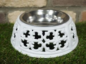 WHITE ORNATE PET DOG CAT CAST IRON FEEDER WATER STAINLESS STEAL BOWL DISH