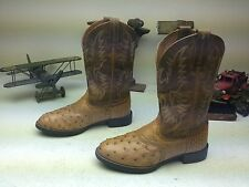 ARIAT BROWN LEATHER OSTRICH WESTERN COWBOY ENGINEER BOOTS 8.5 M
