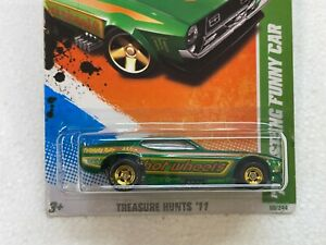 HOT WHEELS 2011 SUPER TREASURE HUNT 71 MUSTANG FUNNY CAR 10/15 WITH RUBBER TIRES
