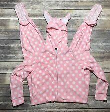 Joe Boxer Women's Size Large One Piece Foot Pajamas BUNNY Polka Dots Pink White
