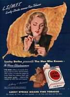 1948 Lucky Strike Cigarettes Blonde Woman Lighting Vintage Color Art Print Ad