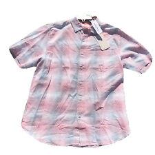 Tommy Bahama Mens Hawaiian Linen Shirt M Ravenna Plaid Red NWT S/S $115