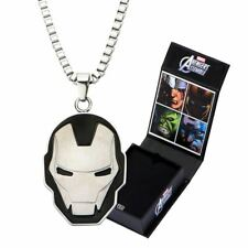 Marvel Iron Man Black Pendant Necklace - Avengers Comics Stainless Steel Boxed