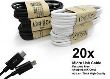 20x Lot Of Wholesale BLACK Micro USB Cable Charger Cord for Samsung S2 S3 S7