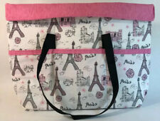 Paris Themed Handmade Expandable Tote Purse Sturdy Bag Black Straps Pink Lining