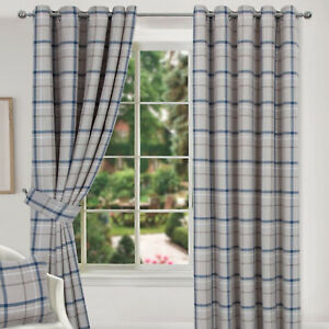 Hudson Blue Multi Checked Tartan Ring Top Pair Of Lined Curtains Highland Design