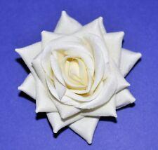 """SMALL 3"""" White Cream Velvet Rose Silk Flower Hair Clip Wedding"""