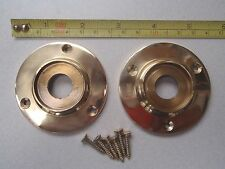 2 CAST BRASS DOOR KNOB PLAIN BACK PLATES / ROSES VICTORIAN STYLE 60 mm DIAMETER