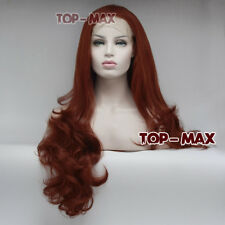 24 Inches Orange Red Anime Cosplay Wig Full Hair Heat Resistant Lace Front Wig