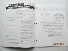 Wheel Horse 1984 Warranty Policies Manual