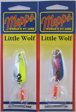 2 Pks.  Mepps Little Wolf Spoon - 1/4 oz. - Silver Chartreuse & Rainbow Trout
