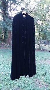Vtg Women's Black Velvet Satin Lined Cape Cosplay Costume Jet Black