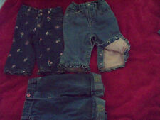 3 Pair 12 Month Girls Jeans Embroidery Floral Heart Butterfly Ruffle Snap PullUP
