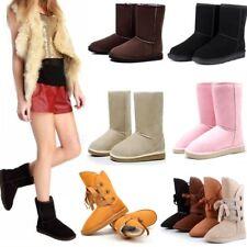 Женские девочек зимние теплые замшевые мех на подкладке до середины голени балетки короткие снежные ботинки-туфли
