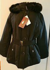 Dames Veste Matelassée D'hiver Manteau court Parka Italie Fourrure XL noir