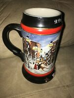 VINTAGE 1992 BUDWEISER HOLIDAY BEER STEIN A PERFECT CHRISTMAS CERAMARTE BRAZIL