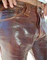 men handmade brown leather pants men pants men trouser motorbike party trouser