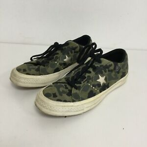 Converse One Star Trainers UK 5 Unisex Green Camouflage Print Leather 481505