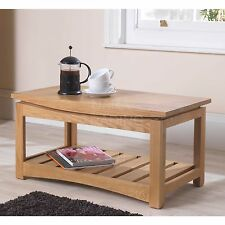 Crescent solid oak living room modern furniture coffee table with shelf