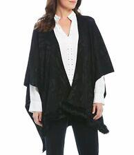 Ming Wang Black Genuine Rabbit Fur Trim Open Front Wrap Poncho One Size