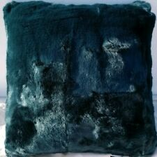 "Hallmart Collectibles 18"" Fur Square Decorative Pillow- Blue Green"