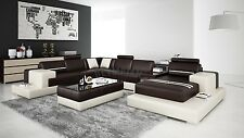 Modern Large LEATHER SOFA Corner Suite NEW RRP £5499 Chocolate Brown & Beige