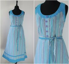 Vintage 1970s Striped Midi Dress RETRO Sundress Waist Ties Boho Chic Dress 10