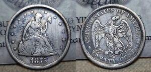 1875 S Twenty Cent Piece 20c Nice Details Scratches Obverse
