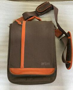 """STM Laptop Messenger Bag - Brown/Orange - Shoulder Bag 14"""" - Vintage"""