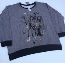 Disney Jack Skellington Sally Dance Sweatshirt Gray Black Gold Bats Pullover Xl