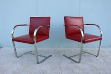 Mies van der Rohe for Knoll Vintage Red Leather Brno Flat Bar Chairs - A Pair