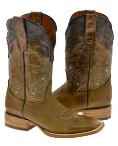Mens Honey Brown Real Leather Cowboy Boots Overlay Stitched Riding Square Toe