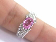Fine Gem Pink Sapphire Diamond White Gold Jewelry Ring 2.10Ct