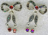 """925 Sterling Silver Garnet & Marcasite Bow Drop / Dangle Earrings  1.1/8"""" length"""