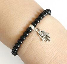 Round Crystal Hamsa Symbol Hand Charm Bracelet Black Beads with Elastic Cord