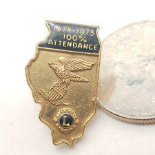 1974-1975 Lions Clubs International 100 % Attendance Lapel Pin Back Johnny Balb