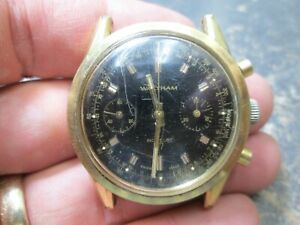 Vintage WALTHAM Chronograph Running 2 Register Watch 17 Jewels BLACK DIAL