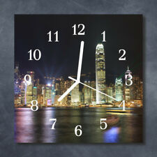 Glass Wall Clock Kitchen Clocks 30x30 cm silent Skyline Multi-Coloured