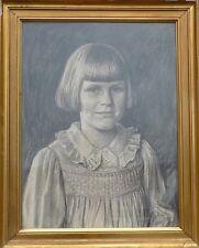 AXEL HOU 1860-1948 JUGENDSTIL GEMÄLDE -KINDERPORTRÄT -MÄDCHEN -YOUNG GIRL -1922
