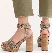 FREE PEOPLE Justine Snake Print Studded Playform Wrap Heel Sandal 41 9.5 EU 7.5