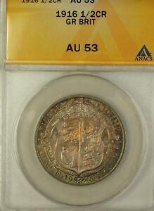 1916 Great Britain Half Crown Silver Coin ANACS AU-53 Beautiful Toning