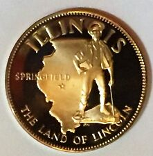 C1891    FRANKLIN  MINT  BRONZE   MEDAL,  STATE OF  ILLINOIS