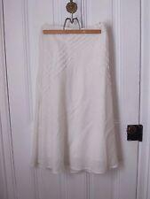 Carole Little Skirt size 6 White Linen Lined Long Skirt