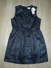 Original Penguin Women's Dress Skater Black Sparkle V Neck Peplum UK 16 New