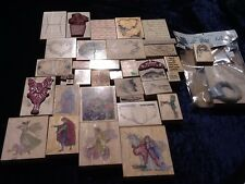 Rubber Stamps Lot Of 37 Several Vendors Including Rubber Baby Buggy Bumper