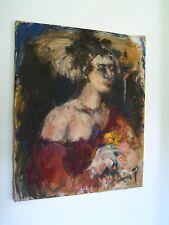 Frida Kahlo Portrait Diego Rivera Wife Illegible Signed Original Oil Canvas '50s