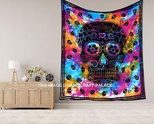 Decorative Skull Skeleton Tie Dye Tapestry Indian Cotton Wall Hanging Bohemian