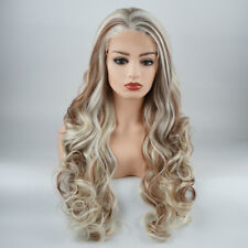 Wavy Long 26inch White and Blonde and Auburn Mix Synthetic Lace Front Wig